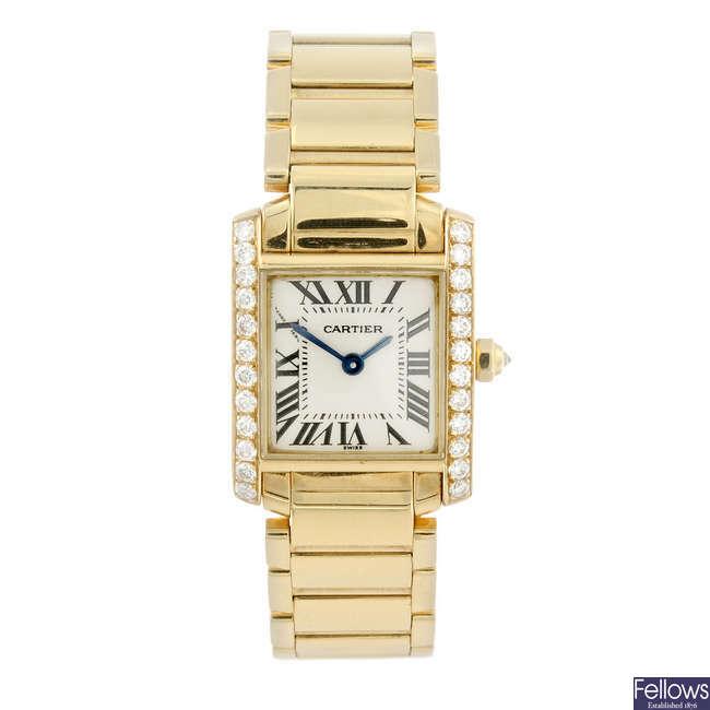 CARTIER - a diamond set 18ct yellow gold Tank Francaise bracelet watch.