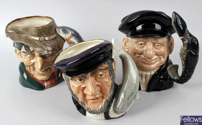 A group of eight Royal Doulton character jugs.