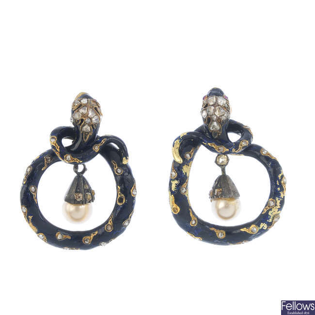A pair of mid Victorian gold diamond and enamel snake earrings.