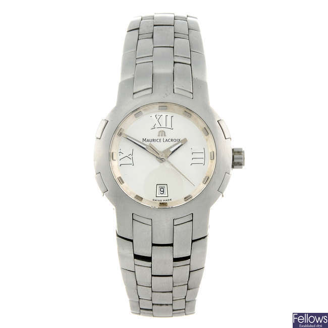 MAURICE LACROIX - a lady's stainless steel Milestone bracelet watch.