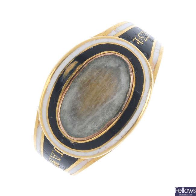 A George III gold enamel memorial ring.
