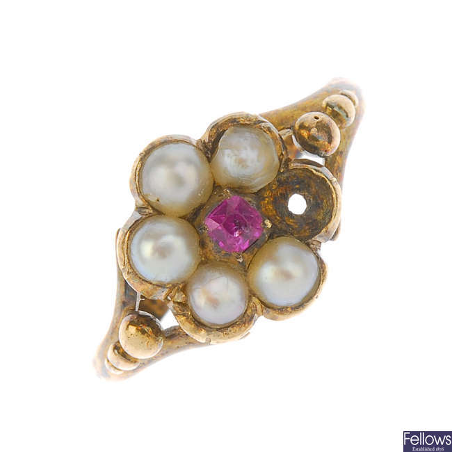 An early Victorian split-pearl gem-set ring.