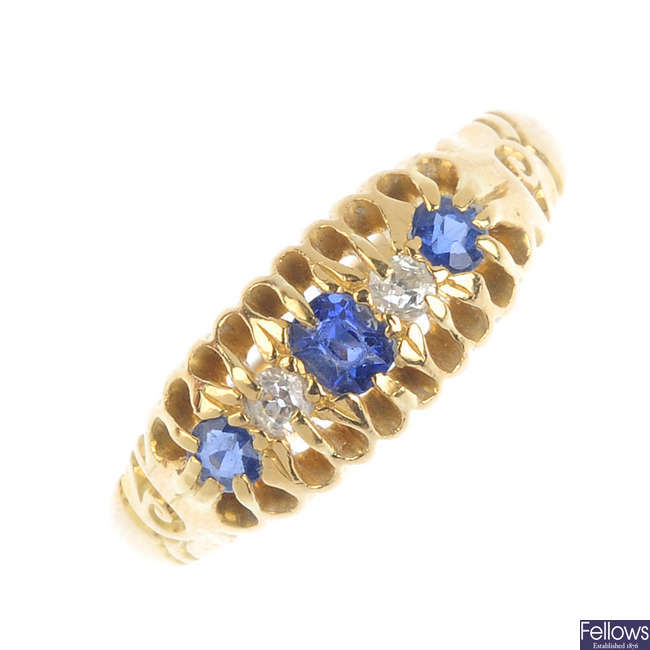 An Edwardian 18ct gold diamond and sapphire ring.