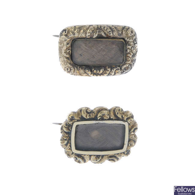 Two early Victorian memorial hair brooches.