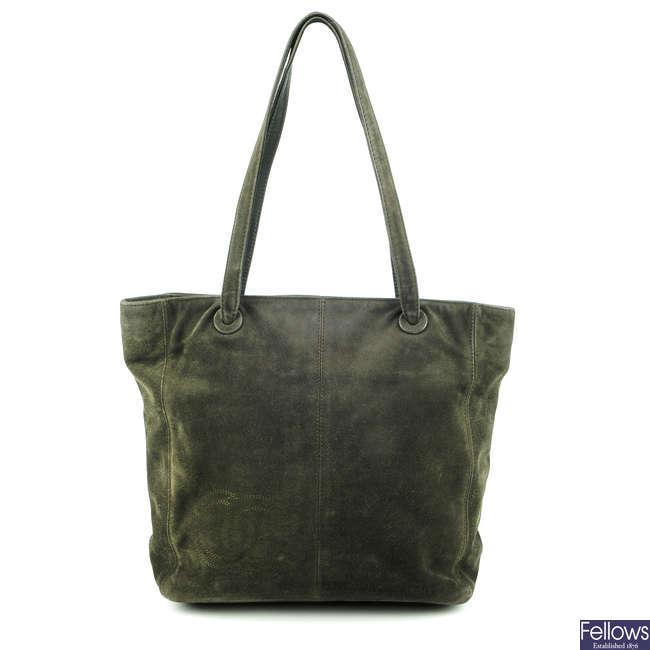 CHANEL - a vintage suede handbag.
