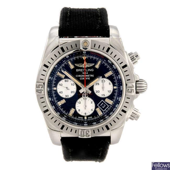 BREITLING - a gentleman's stainless steel Chronomat 44 Airborne chronograph wrist watch.