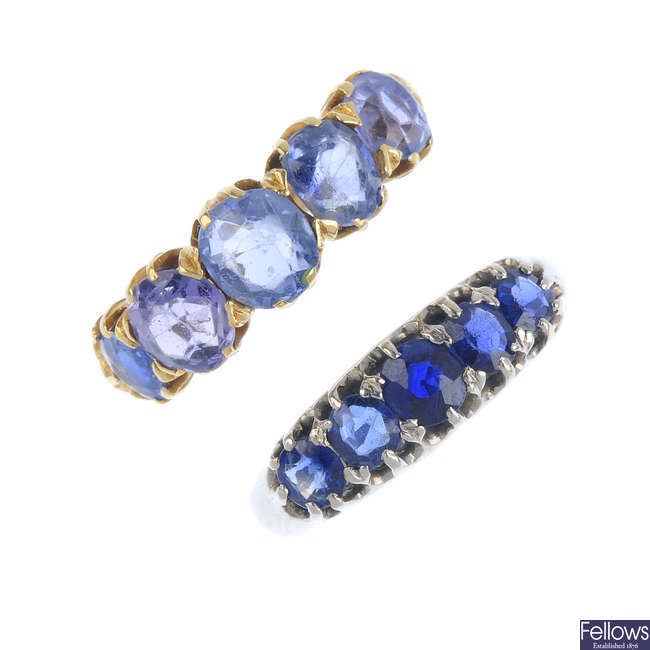Two sapphire five-stone rings.
