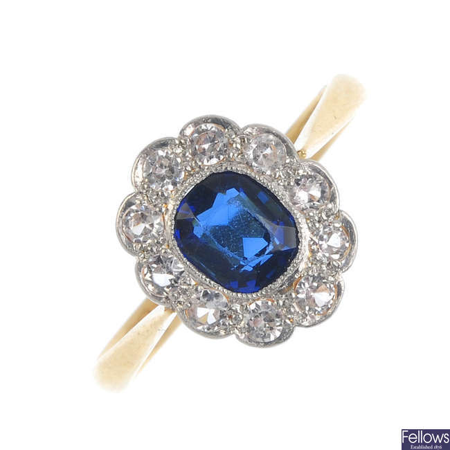A mid 20th century 18ct gold paste cluster ring.