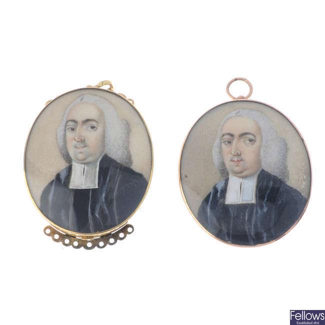 Two late Georgian portrait miniatures of a parson.