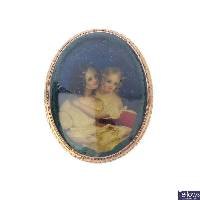 An early Victorian portrait brooch.