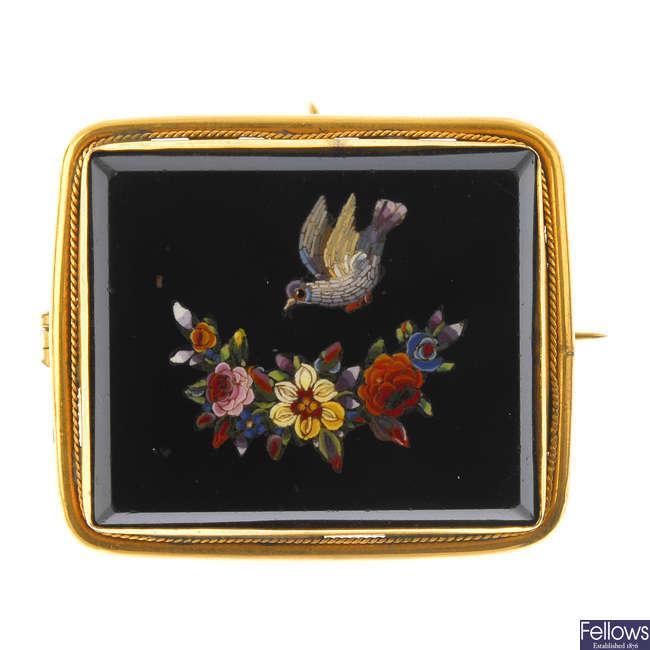 A late Victorian micro mosaic brooch.
