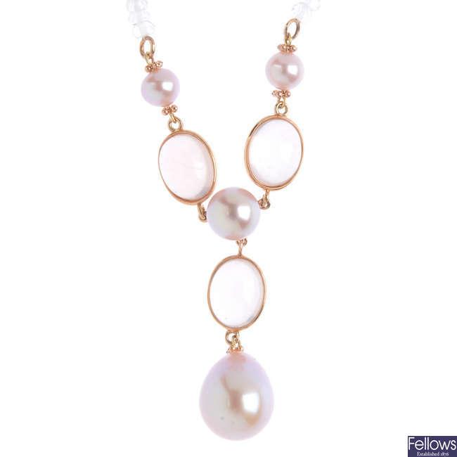 A rose quartz and cultured pearl necklace.