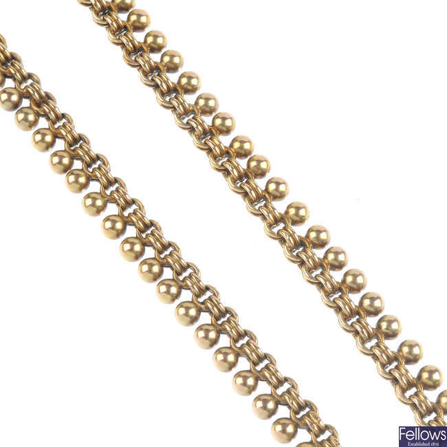A late Victorian gold necklace, circa 1880.