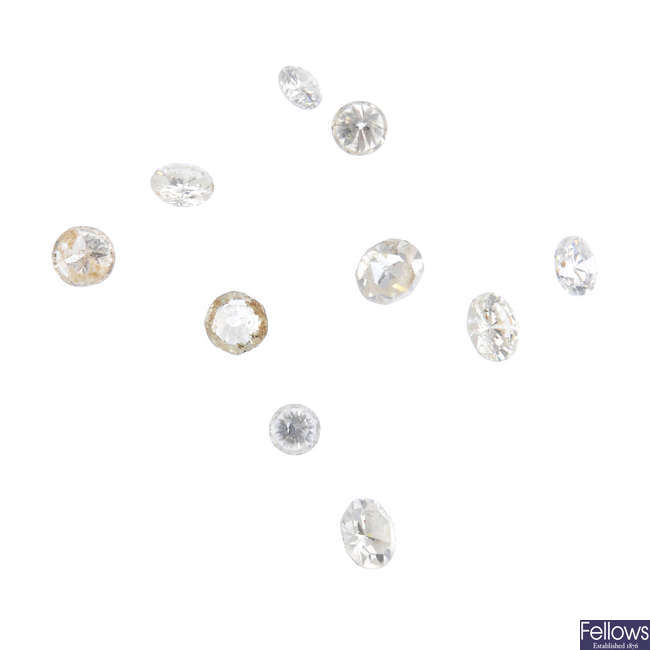 A selection of brilliant-cut diamonds, total weight 0.85ct.