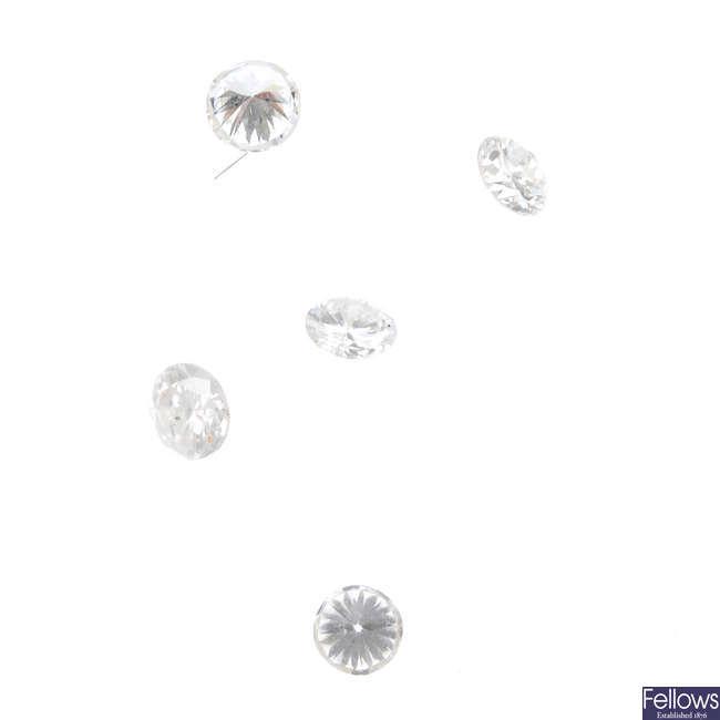 Five brilliant-cut diamonds, total weight 0.74ct.