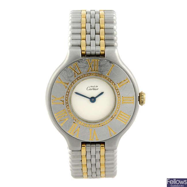 CARTIER - a bi-metal Must de Cartier 21 bracelet watch.