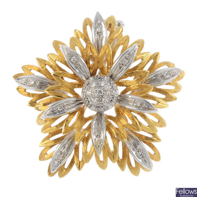 A 1960s 18ct gold diamond floral brooch.