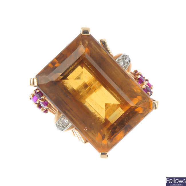 A 1950s citrine, diamond and ruby cocktail ring.