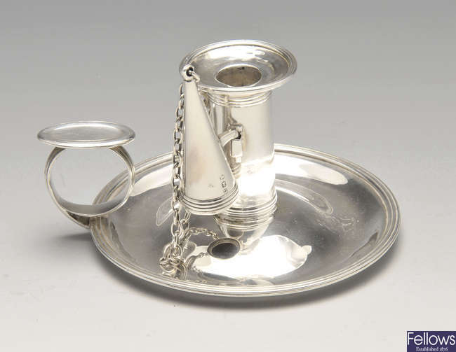 A George III small silver chamberstick.