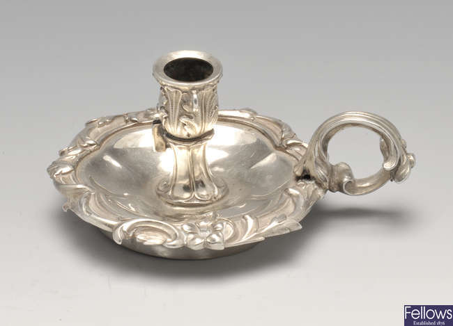 A William IV small silver chamberstick.