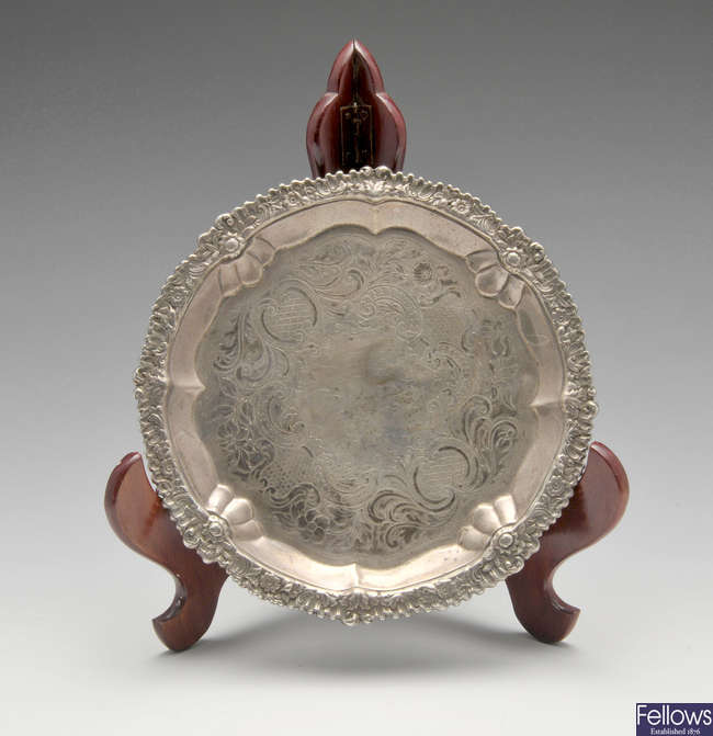 A George IV small silver salver.