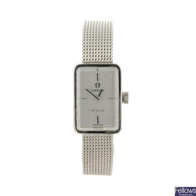 OMEGA - a lady's stainless steel De Ville bracelet watch.
