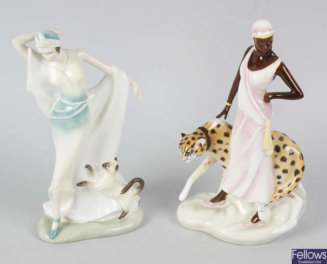 Two Royal Doulton bone china figurines.