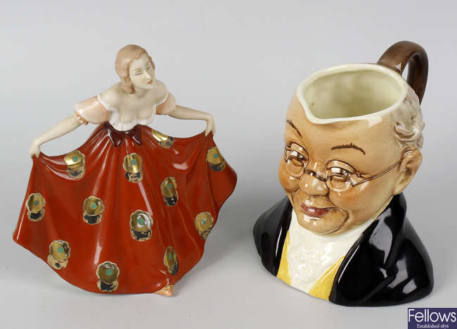A small Royal Dux figurine, modelled as a curtseying lady, a pair of large porcelain vases, etc.