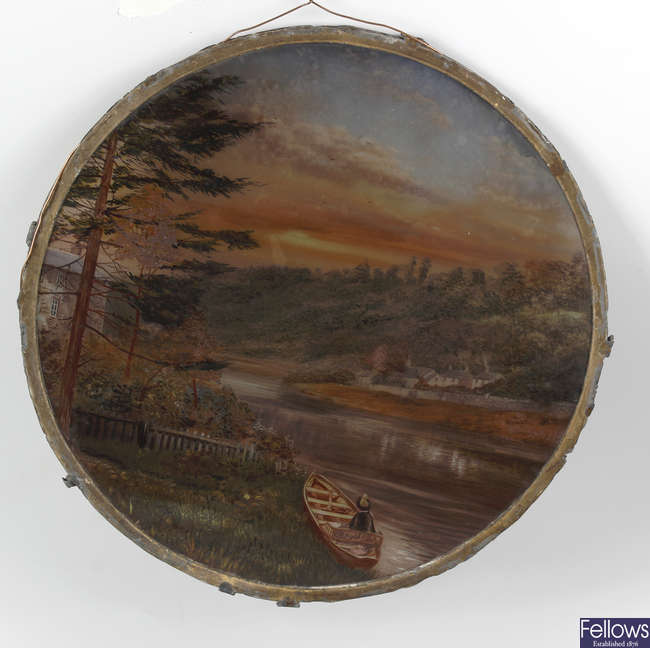A late 19th century circular hand painted opaque glass panel.