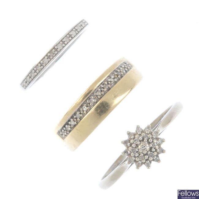 Three 9ct gold diamond rings.