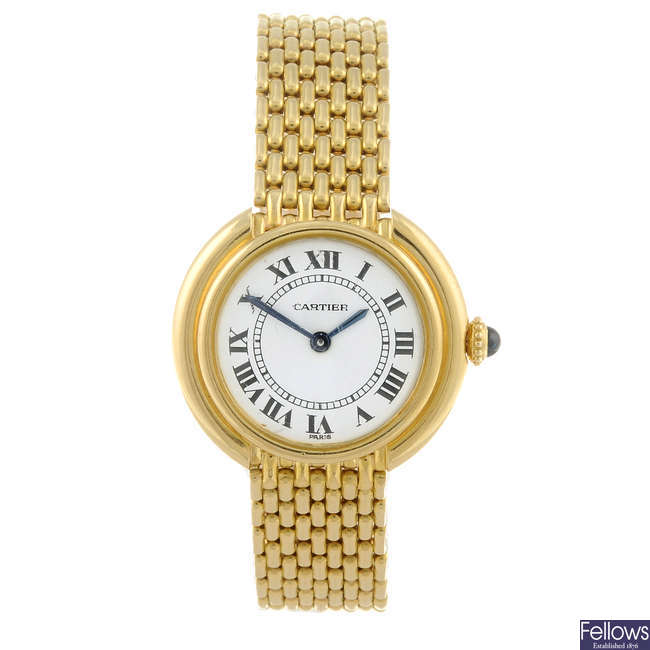 CARTIER - a yellow metal Ellipse bracelet watch.