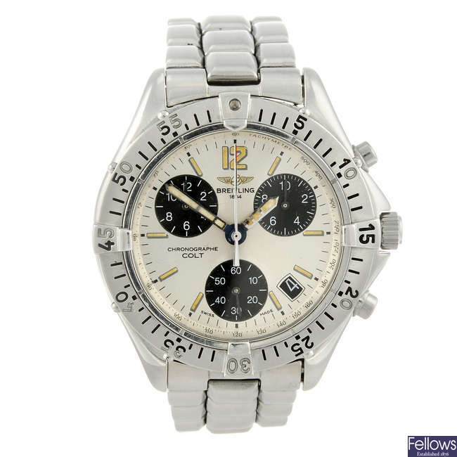 BREITLING - a gentleman's stainless steel Chrono Colt Quartz chronograph bracelet watch.