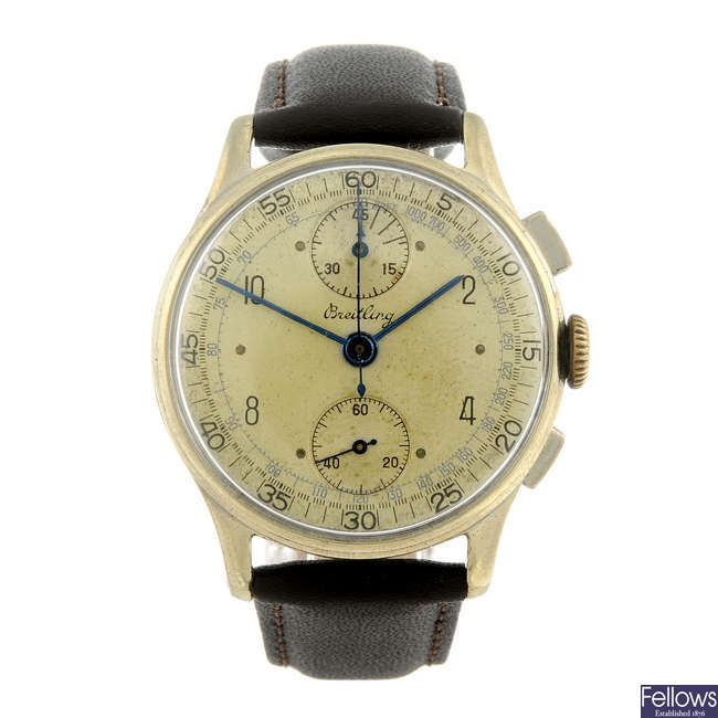 BREITLING - a gentleman's gold plated chronograph wrist watch.
