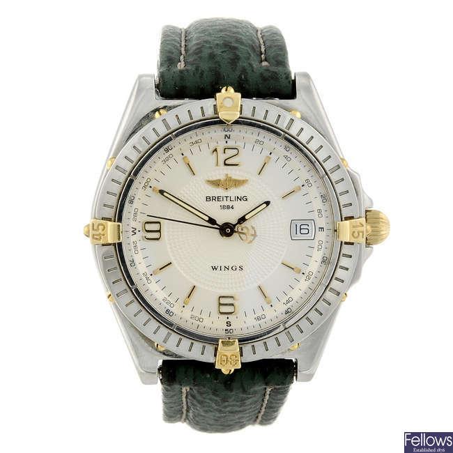 BREITLING - a gentleman's stainless steel Windrider Wings wrist watch.