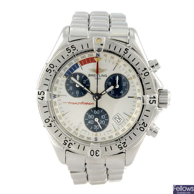 BREITLING - a gentleman's stainless steel Colt Chrono Transocean chronograph bracelet watch.