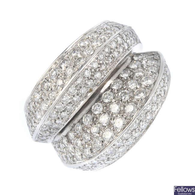 A diamond dress ring.