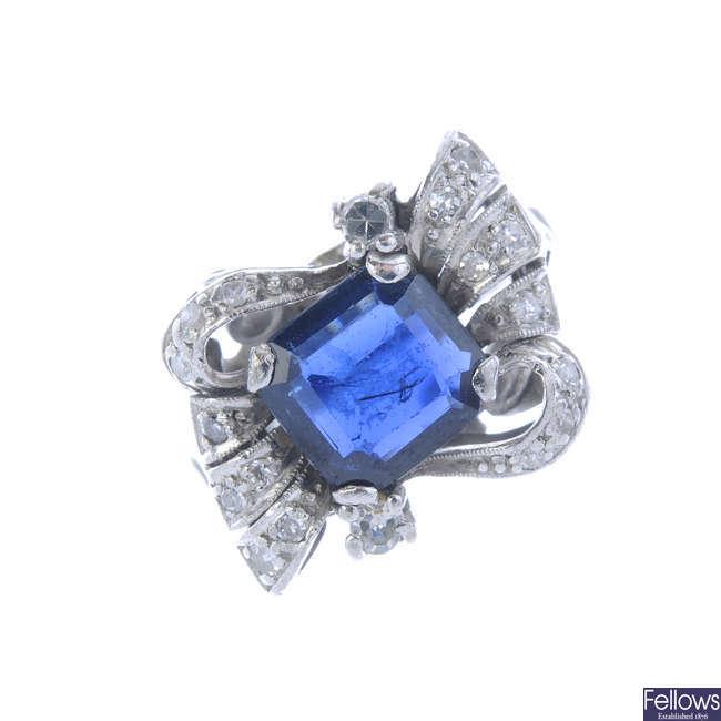 A sapphire and diamond dress ring,