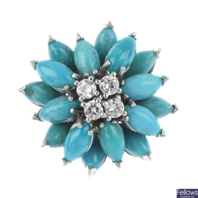 A mid 20th century gold diamond and turquoise cluster ring.