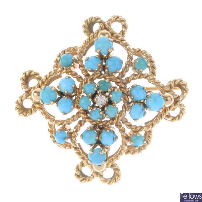 A mid 20th century gold turquoise and diamond brooch.