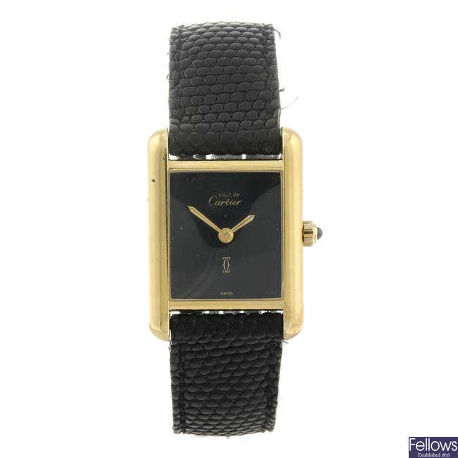 CARTIER - a gold plated white metal Must De Cartier Tank wrist watch.