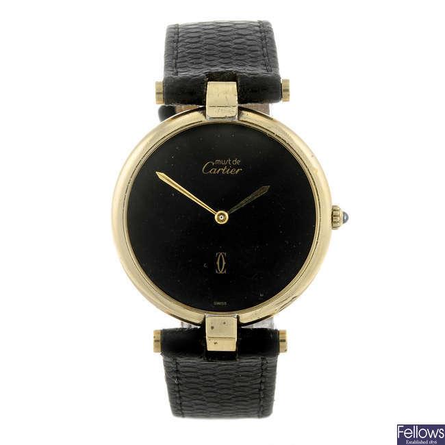 CARTIER - a gold plated white metal Must De Cartier Vendome wrist watch.