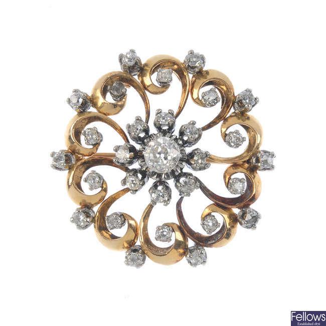 A late 19th century gold diamond brooch.