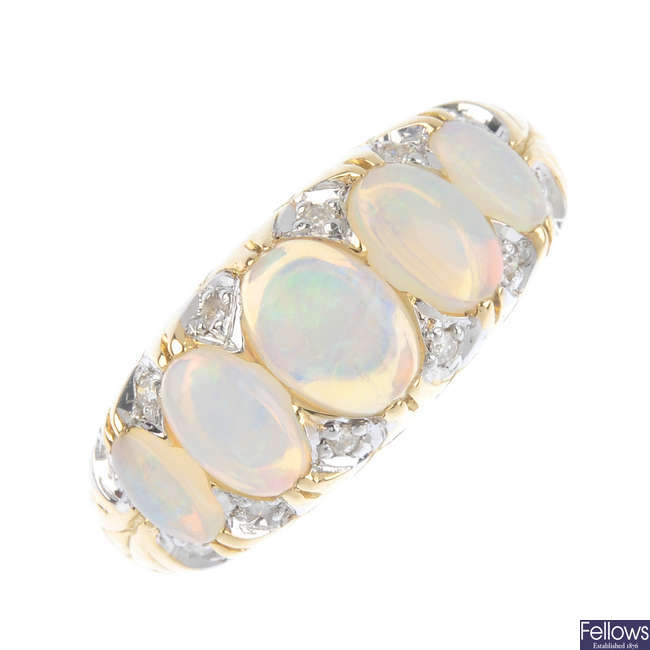 An opal five-stone ring.
