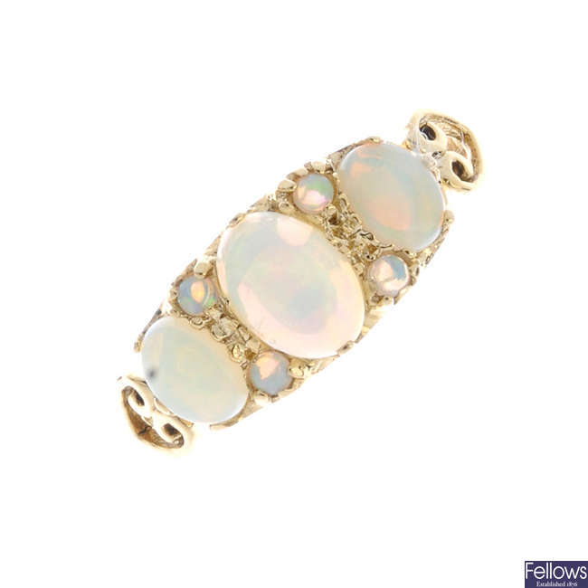 An opal three-stone ring.