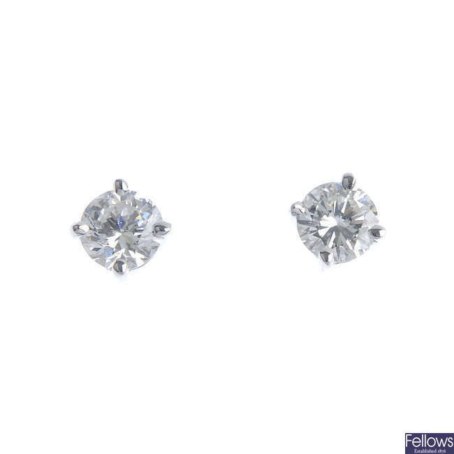 A pair of 18ct gold brilliant-cut diamond ear studs.
