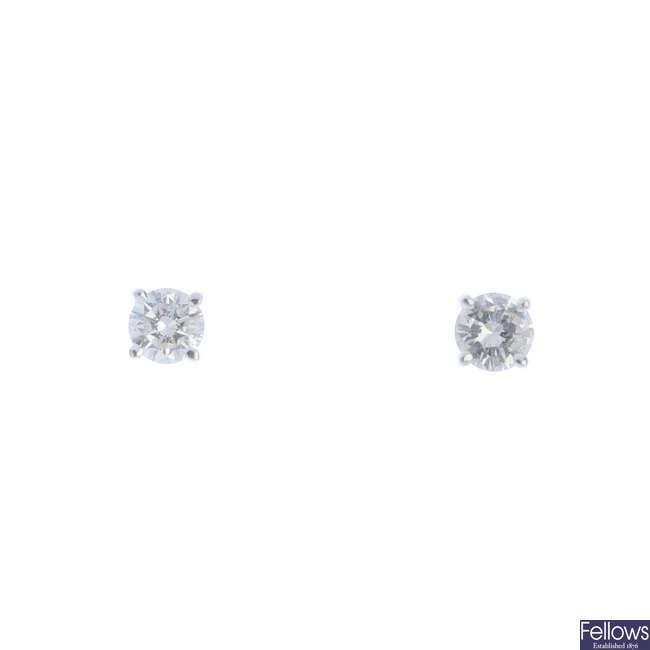A pair of 18ct gold brilliant-cut diamond ear studs.