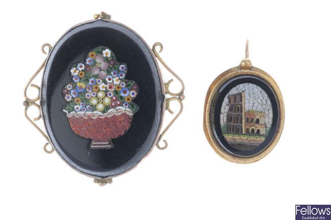 Two late 19th century items of micro mosaic jewellery.