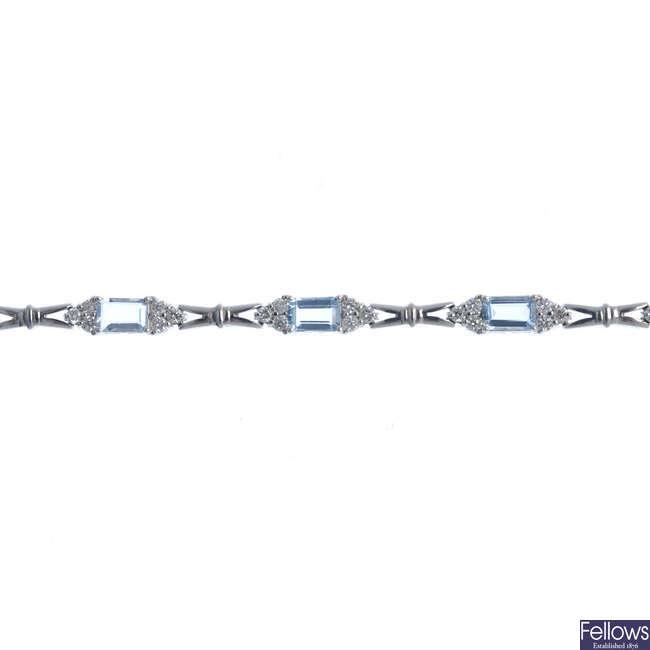 An aquamarine and diamond bracelet.