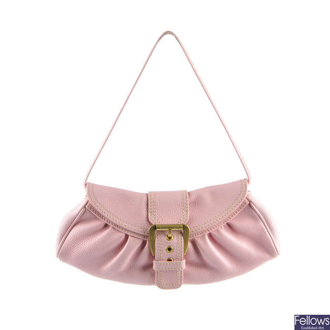 CELINE - a pink leather Pochette handbag.