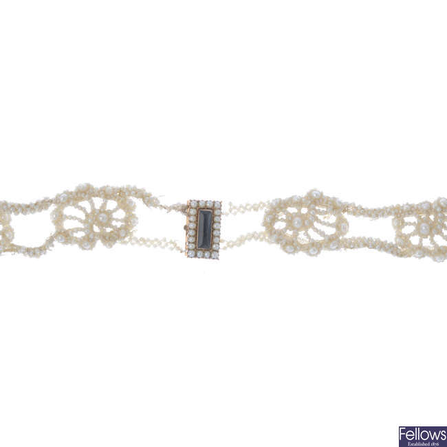 A mid 19th century seed pearl choker which adapts to two bracelets.